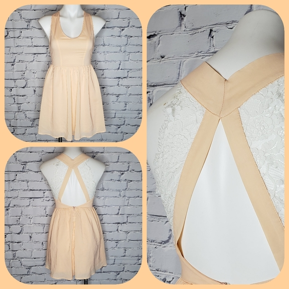 Tobi Dresses & Skirts - Peach and Lace Skater Dress